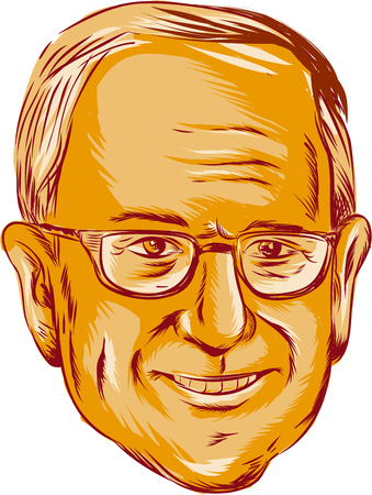 bernard: Illustration showing Bernard Bernie Sanders, American Senator, elected politician and Democratic party member on isolated background done in etching sketch style.