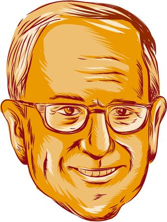"""bocetos de personas: Ilustración que muestra Bernard """"Bernie"""" Sanders, senador estadounidense, político electo y miembro del partido Demócrata en el fondo aislado hecho en el estilo de dibujo grabado. Editorial"""
