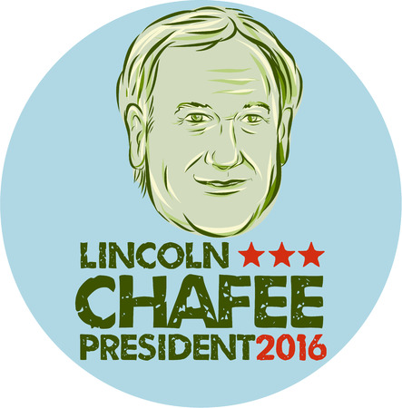elected: Illustration showing Lincoln Chafee, American Governor of Rhode Island, elected politician and Democrat presidential candidate set inside circle on isolated background and words Lincoln Chafee President 2016 done in etching ketch style.