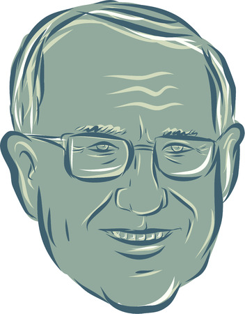 senator: Illustration showing Bernard Bernie Sanders, American Senator, elected politician and Democratic party member on isolated background done in etching sketch style.