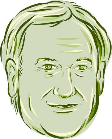 bocetos de personas: Ilustración que muestra el Lincoln Chafee, gobernador norteamericano de Rhode Island, político electo y miembro del partido Demócrata en el fondo aislado hecho en el estilo de dibujo grabado.