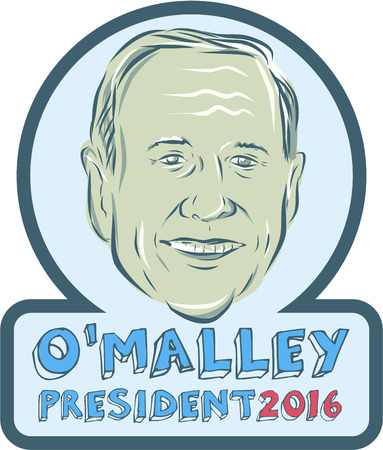 elected: Illustration showing Martin OMalley, American Governor of Maryland, elected politician and Democrat presidential candidate set inside circle on isolated background and words Martin OMalley President 2016 done in etching sketch style. Editorial