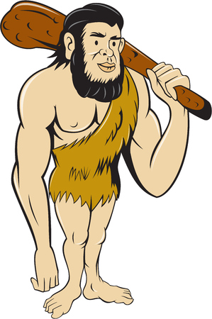 Illustration of a caveman or neanderthal man standing holding a club facing front on isolated white background done in cartoon style.