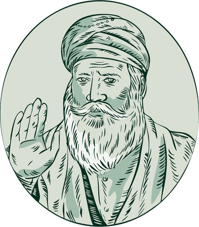 guru: Etching engraving handmade style illustration of a Sikh guru nanak ji priest waving viewed from front set inside oval.