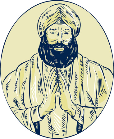 scratch board: Etching engraving handmade style illustration of a Sikh guru or priest praying viewed from front set inside oval. Illustration