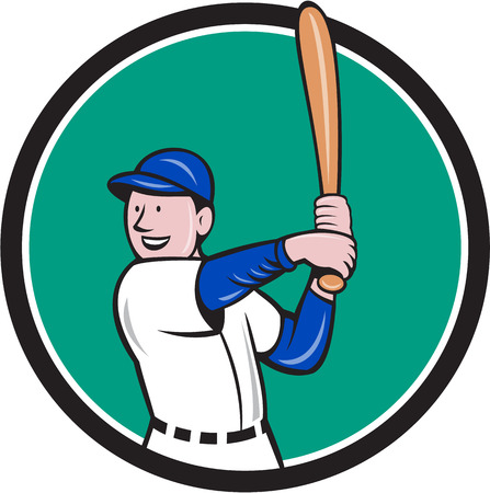 hitter: Illustration of an american baseball player batter hitter with bat batting stance viewed from side set inside circle done in cartoon style isolated on background.