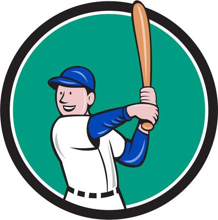 bateo: Ilustraci�n de un jugador de b�isbol bateador bateador americano con el bate de bateo postura se ve desde el lado conjunto dentro del c�rculo hecho en estilo de dibujos animados aislado en el fondo.
