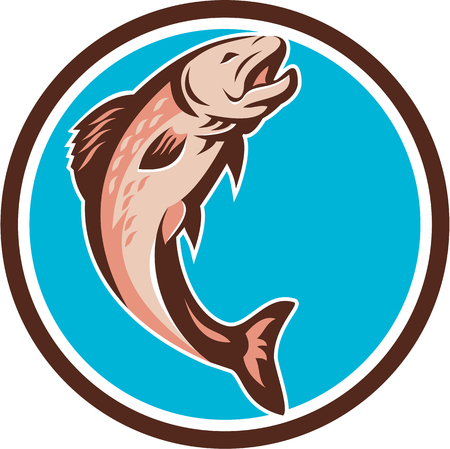 fish jumping: Illustration of a trout fish jumping  viewed from the side set inside circle on isolated background done in retro style. Illustration