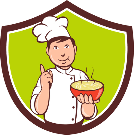 man pointing up: Illustration of a chef cook pointing up and holding bowl of soup with other hand set inside shield crest on isolated background done in cartoon style.