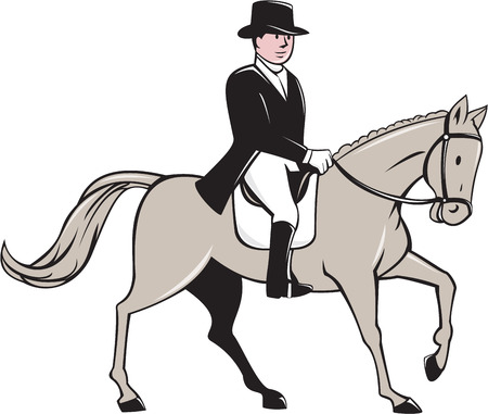 tophat: Illustration of an equestrian rider wearing tophat riding horse dressage viewed from the side set on isolated white background done in cartoon style.