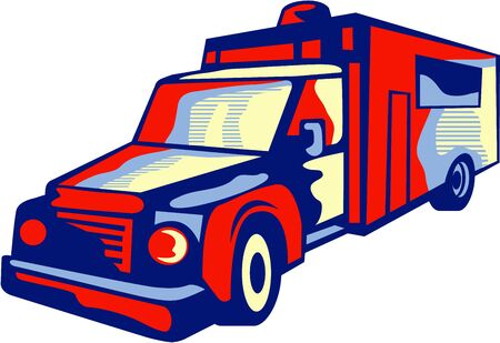 emergency response: Illustration of an ambulance emergency vehicle viewed from front on isolated background done in retro style. Illustration