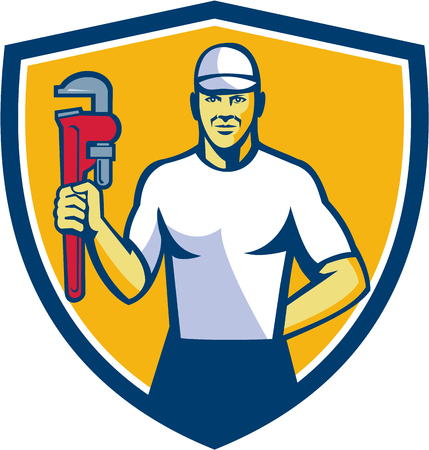 front facing: Illustration of a plumber wearing hat holding monkey wrench facing front set inside shield crest on isolated background done in retro style. Illustration