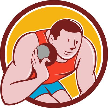 lanzamiento de bala: Ilustración de una pista y campo tiro deportista poner listo para lanzar bola visto de frente fijó el círculo interior en el fondo aislado hecho en estilo de dibujos animados.