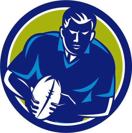 league: Illustration of a rugby player with ball running passing viewed from front set inside circle on isolated background done in retro style.