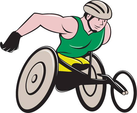racer: Illustration of a wheelchair racer racing on track and road viewed from side on isolated background done in cartoon style.
