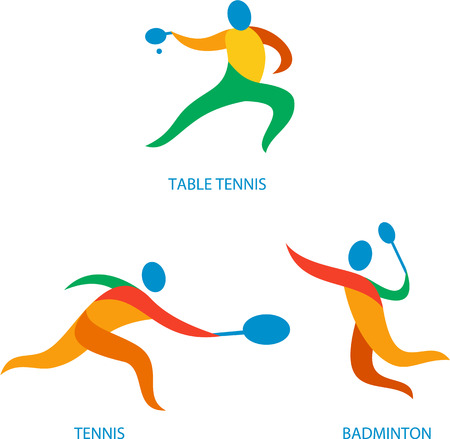 badminton: Icon illustration showing athlete playing the sport of tennis, table tennis and badminton.
