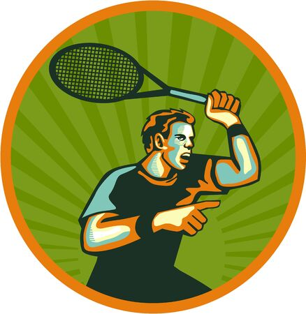 racquet: Illustration of a tennis player holding racquet pointing viewed from the side set inside circle done in retro style. Illustration