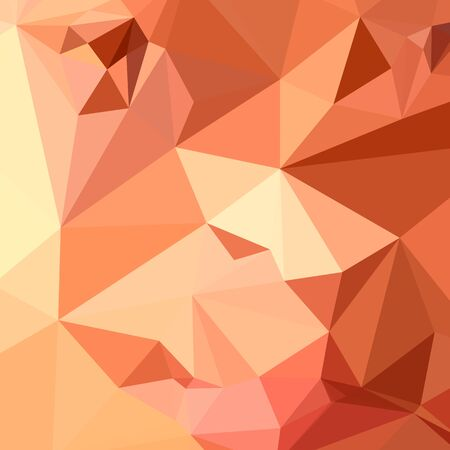 polyhedron: Low polygon style illustration of a tango orange abstract geometric background. Vectores