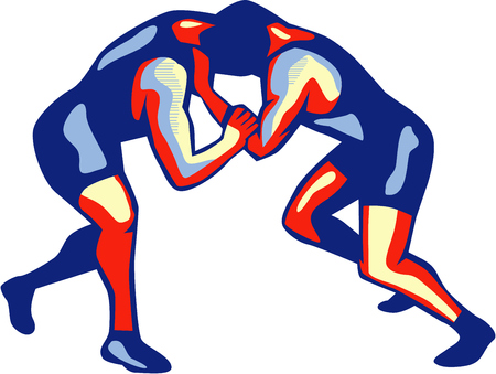 scholastic: Illustration of wrestlers freestyle wrestling viewed from side on isolated background done in retro style.