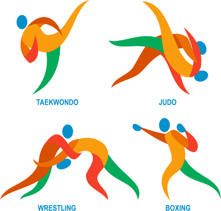 martial art: Icon illustration showing athlete playing the sport of judo, taekwondo, boxing and wrestling.