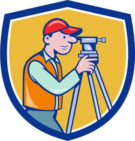 surveying: Illustration of a surveyor geodetic engineer looking through theodolite instrument surveying viewed from side set inside shield crest done in cartoon style.
