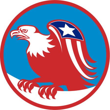 perching: Illustration of a american bald eagle with flag on wing perching viewed from the side set inside circle on isolated background done in retro style.