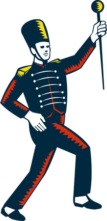 Illustration of a drum major marching band leader holding baton raising viewed from the side set on isolated white background done in retro woodcut style.