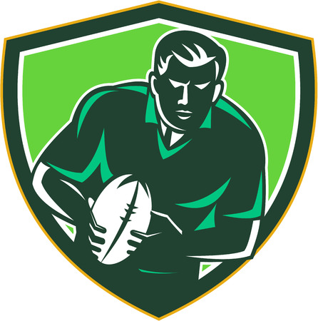 passing: Illustration of a rugby player with ball running passing viewed from front set inside shield crest on isolated background done in retro style.
