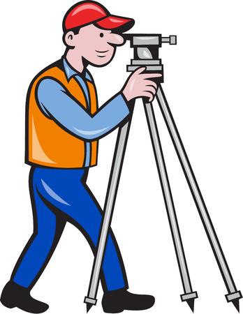 teodolito: Ilustraci�n de un ingeniero geod�sico top�grafo mirando a trav�s de instrumentos teodolito agrimensura visto desde el lado situado en el fondo blanco aislado hecho en estilo de dibujos animados.