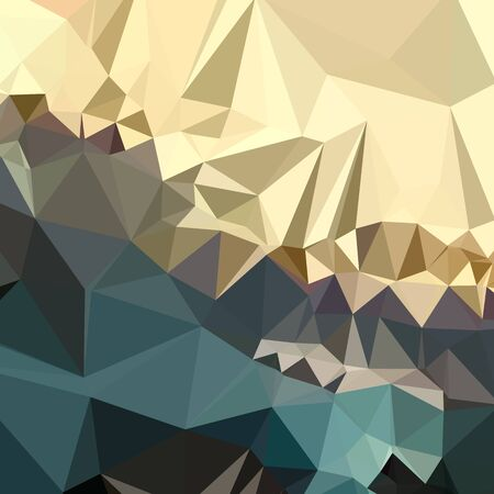 ecru: Low polygon style illustration of an ecru brown blue abstract geometric background.
