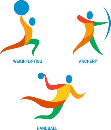 balonmano: Ilustración Icono de atleta jugando el deporte de levantamiento de pesas, tiro con arco y el balonmano. Vectores