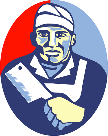 worker person: Retro style illustration of a butcher cutter worker holding meat cleaver knife facing front set inside oval shape done in retro style.