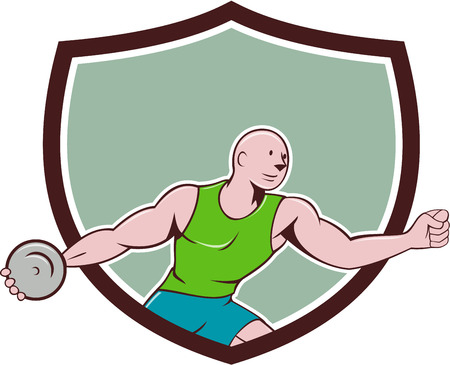 discus: Illustration of a discus thrower viewed from the side set inside shield crest on isolated background done in cartoon style.
