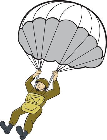 world war two: Illustration of an American World War two paratrooper soldier serviceman with parachute on isolated white background done in cartoon style. Illustration