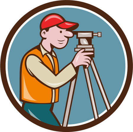 civil engineers: Illustration of a surveyor geodetic engineer looking through theodolite instrument surveying viewed from side set inside circle done in cartoon style.