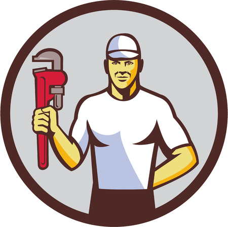 monkey wrench: Illustration of a plumber wearing hat holding monkey wrench facing front set inside circle on isolated background done in retro style.