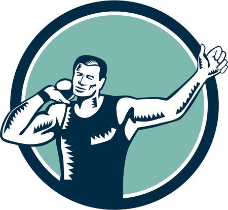 lanzamiento de bala: Ilustración de una pista y campo tiro deportista poner listo para lanzar bola visto de frente fijó el círculo interior en el fondo aislado hecho en estilo retro grabado en madera.