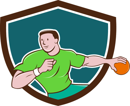 throwing: Illustration of a handball player throwing ball viewed from front set inside shield crest on isolated background done in cartoon style.