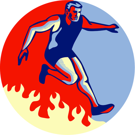 obstacle course: Illustration of an athlete in obstacle course racing jumping over fire set inside circle done in retro style. Illustration