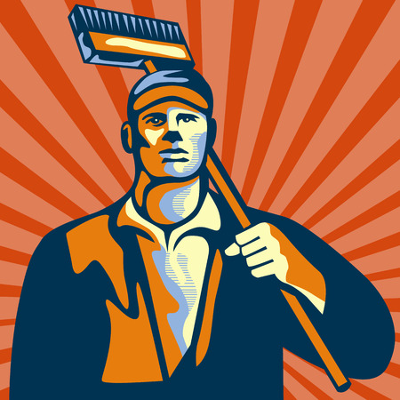 cleaner worker: Illustration of a street cleaner worker holding a broom on shoulder viewed from front set inside square shape with sunburst in the background done in retro style.