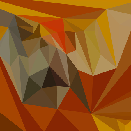 polyhedron: Low polygon style illustration of mahogany brown abstract geometric background.