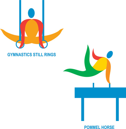 pommel: Icon illustration showing athlete playing the sport of gymnastics still rings and pommel horse.