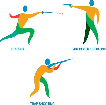 sportsperson: Icon illustration of an athlete sportsperson playing shooting, air pistol, trap shooting and fencing. Illustration