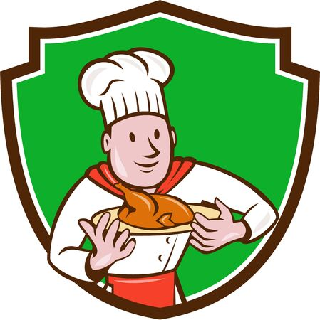 roast chicken: Illustration of a chef cook holding dish with roast chicken set inside shield crest on isolated background done in cartoon style.