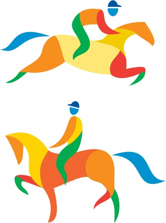 equestrian: Icon illustration showing athlete playing equestrian sports.