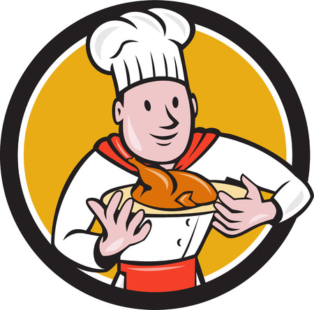 roast chicken: Illustration of a chef cook holding dish with roast chicken set inside circle on isolated background done in cartoon style.