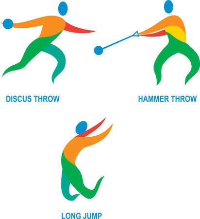 discus: Icon illustration showing athlete playing the sport of track and field hammer throw, discus throw, long jump.