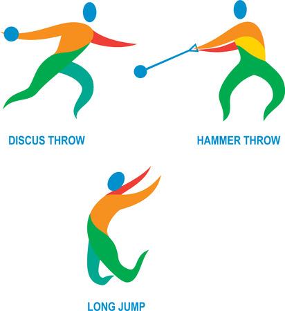 salto de longitud: Ilustración Icono de atleta jugando el deporte de pista y campo Lanzamiento de martillo, lanzamiento de disco, salto de longitud.