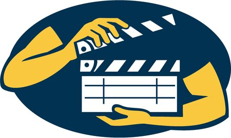 oval shape: Illustration of a hand holding movie clapboard facing front set inside oval shape on isolated background done in retro style. Illustration