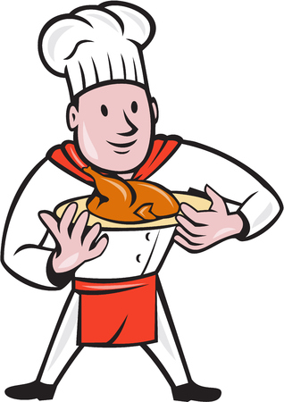 roast chicken: Illustration of a chef cook standing holding dish with roast chicken set on isolated white background done in cartoon style. Illustration